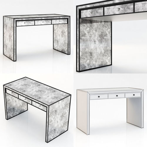 restoration hardware strand mirrored desk 3d model