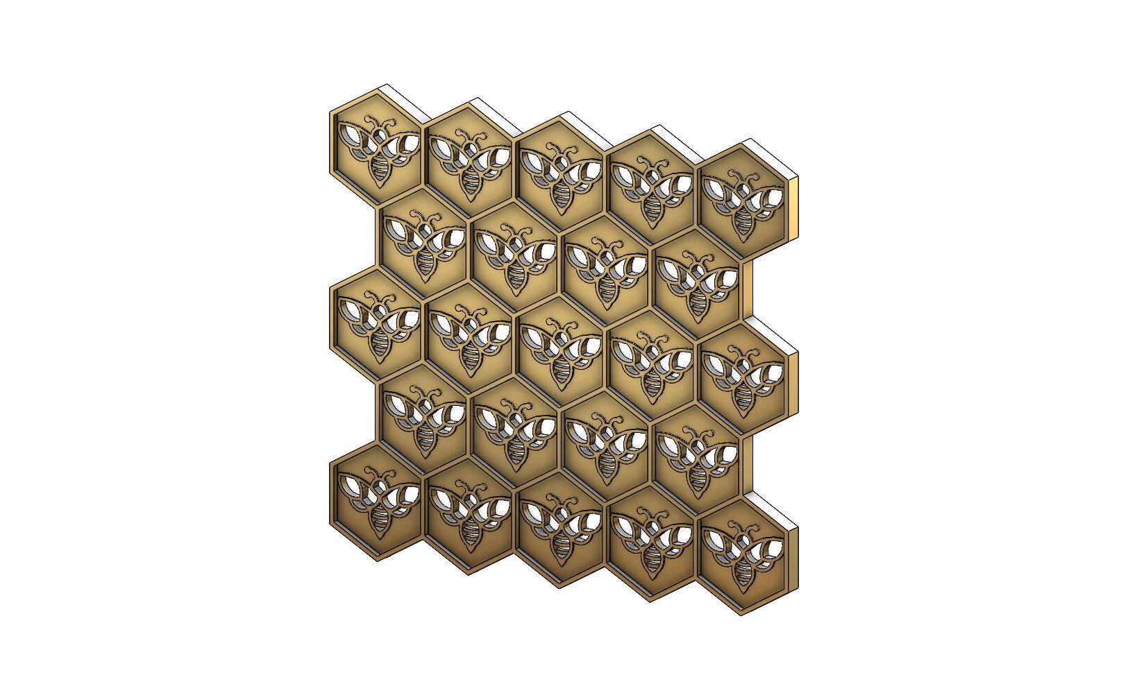 Beehive motif panel for 3dprinting