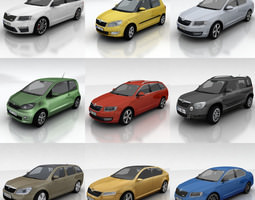 3d model realtime 10 skoda cars collection