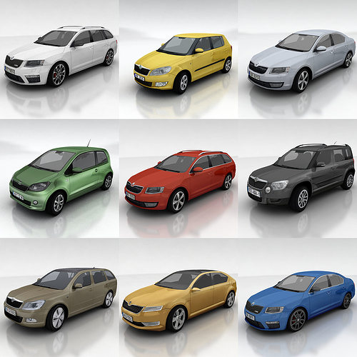 10 skoda cars collection 3d model low-poly max fbx 1