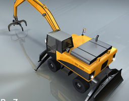 hydraulic excavators with material handler 3d model
