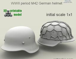 spm-002-m42-01print  wwii period m42 german helmet 3d printable model