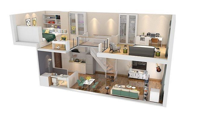 Duplex apartment floorplan  Square40