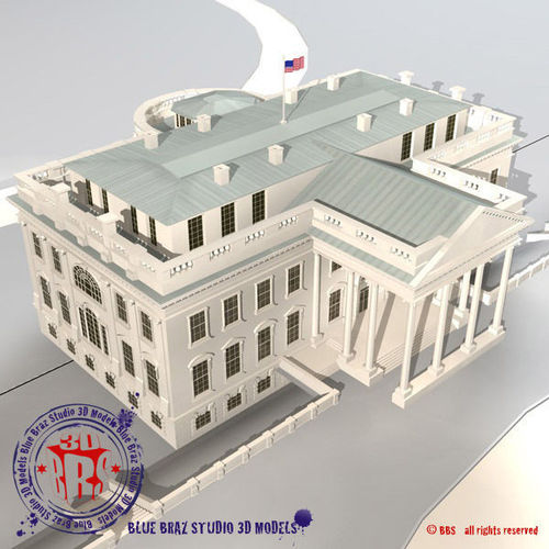 white house 3d model obj 3ds fbx c4d dxf 1