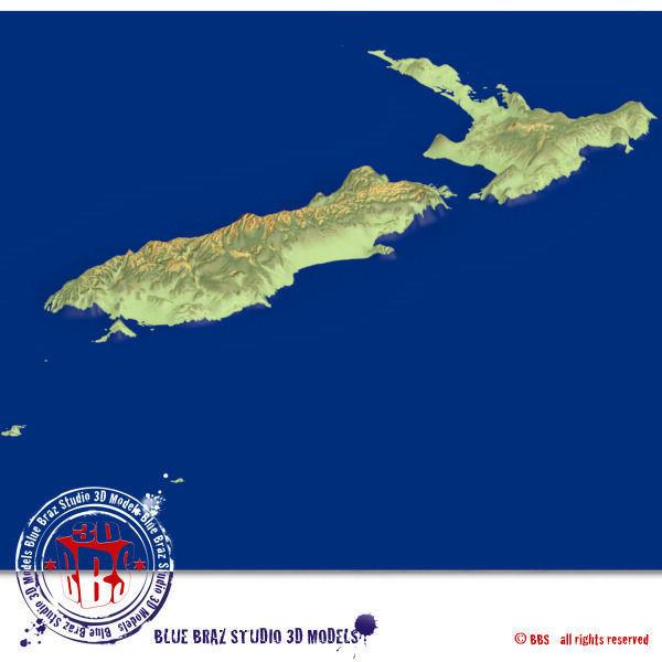 3d Map Of New Zealand.New Zealand Elevation 3d Model