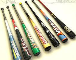 baseball bat collection 3d model obj c4d dxf