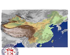 China elevation map 3D model