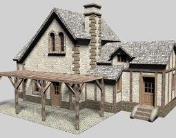 3d old cottage house