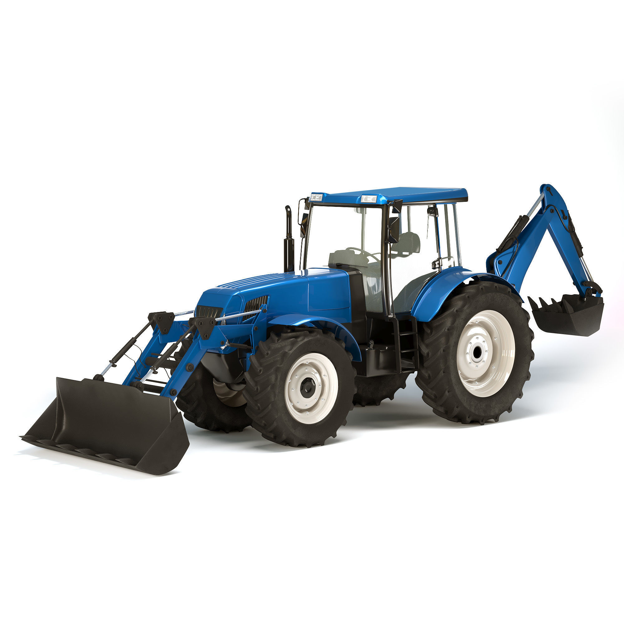 Tractor Low Poly and High Poly