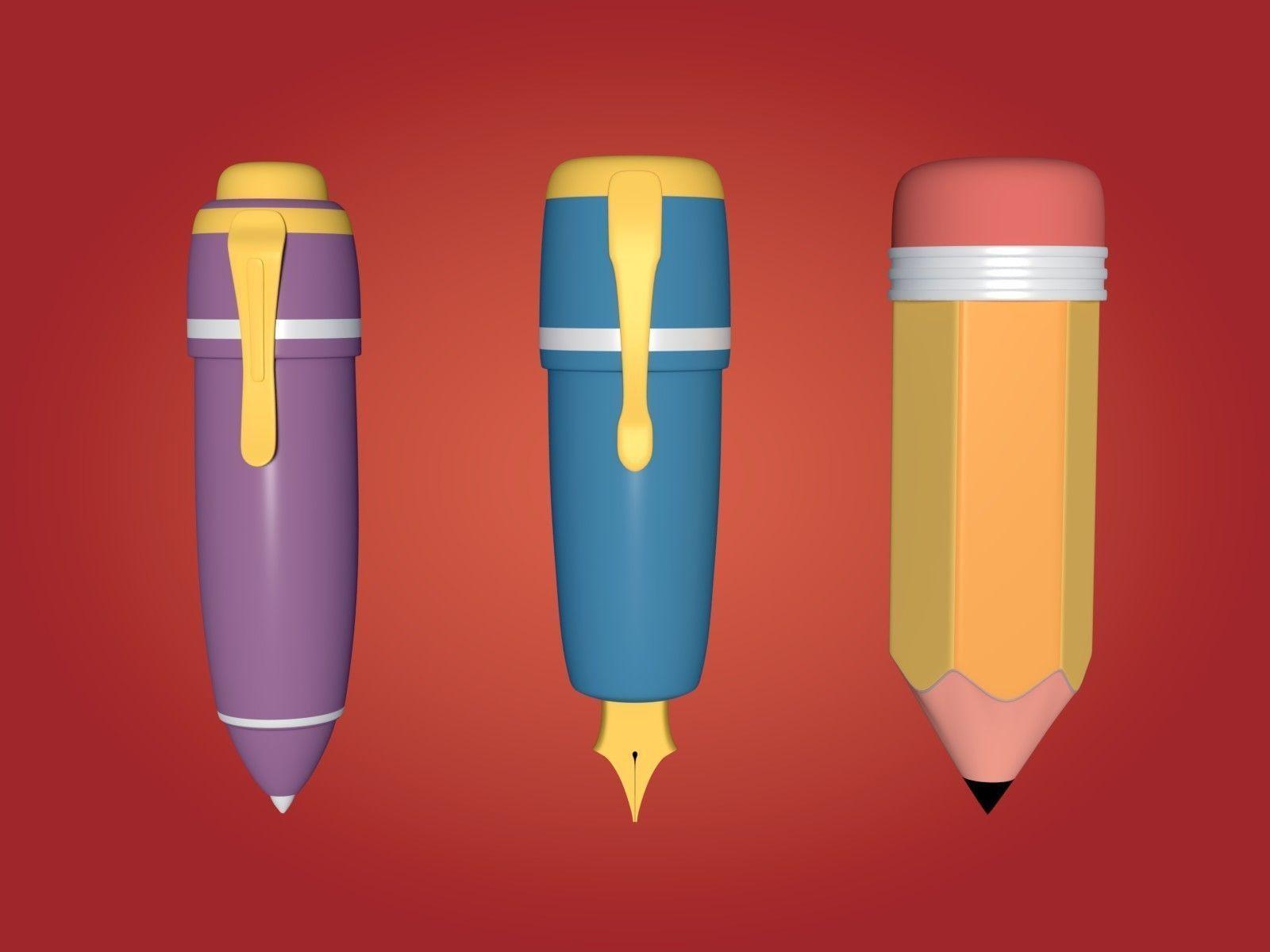 Cartoon Pencil and Pens