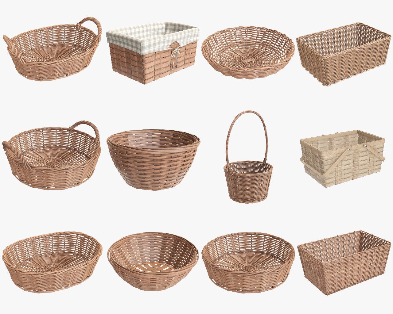 Wicker baskets light brown with fabric handle