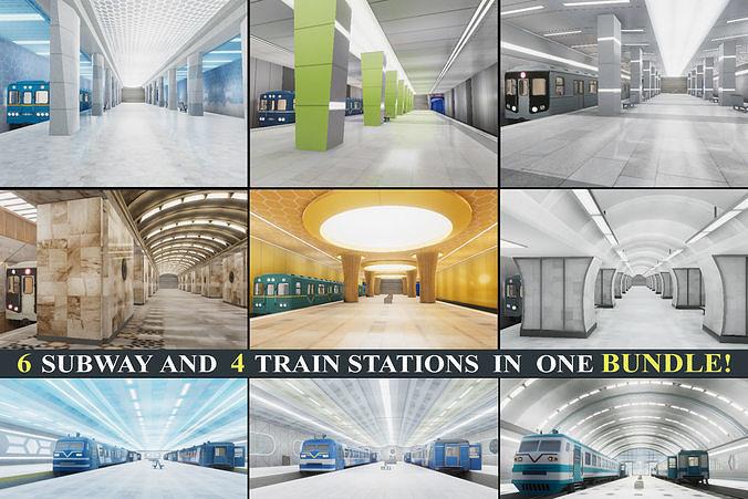 Subway and Train Stations Bundle - 10 Scenes