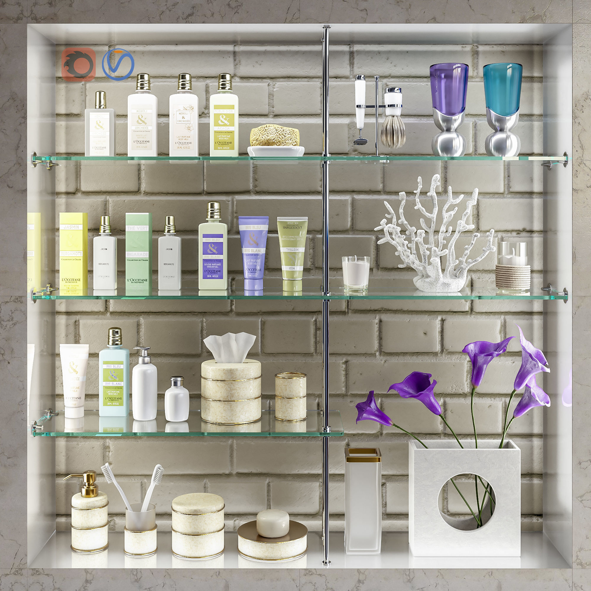 Accessories decor and cosmetics for the bathroom set 4