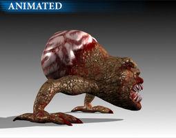 brain monster 3d model rigged animated max obj fbx