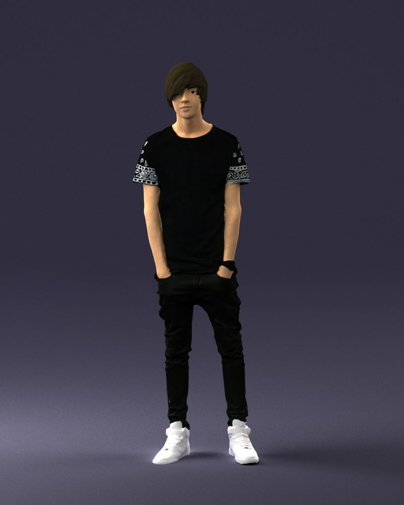 Teenager in black clothes and white sneakers 0208 3D Print Ready