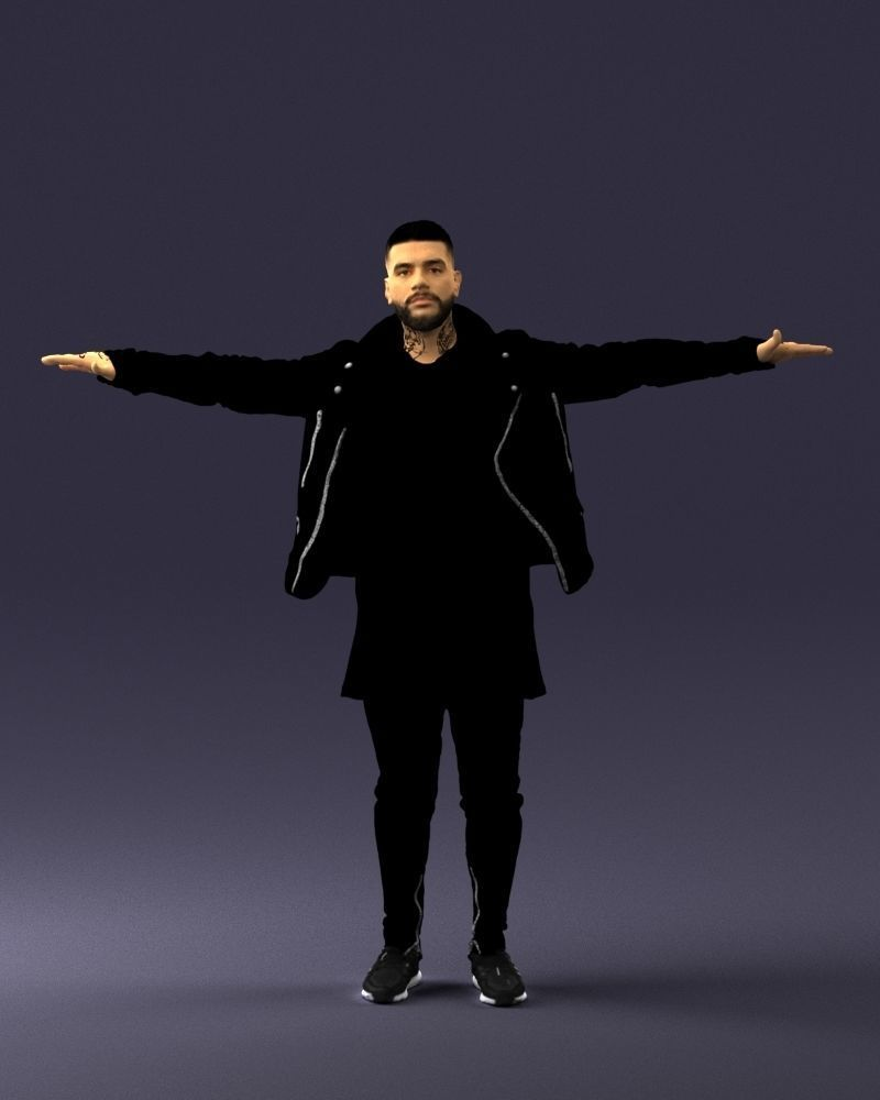 The man in black in the t-pose 0212 3D Print Ready