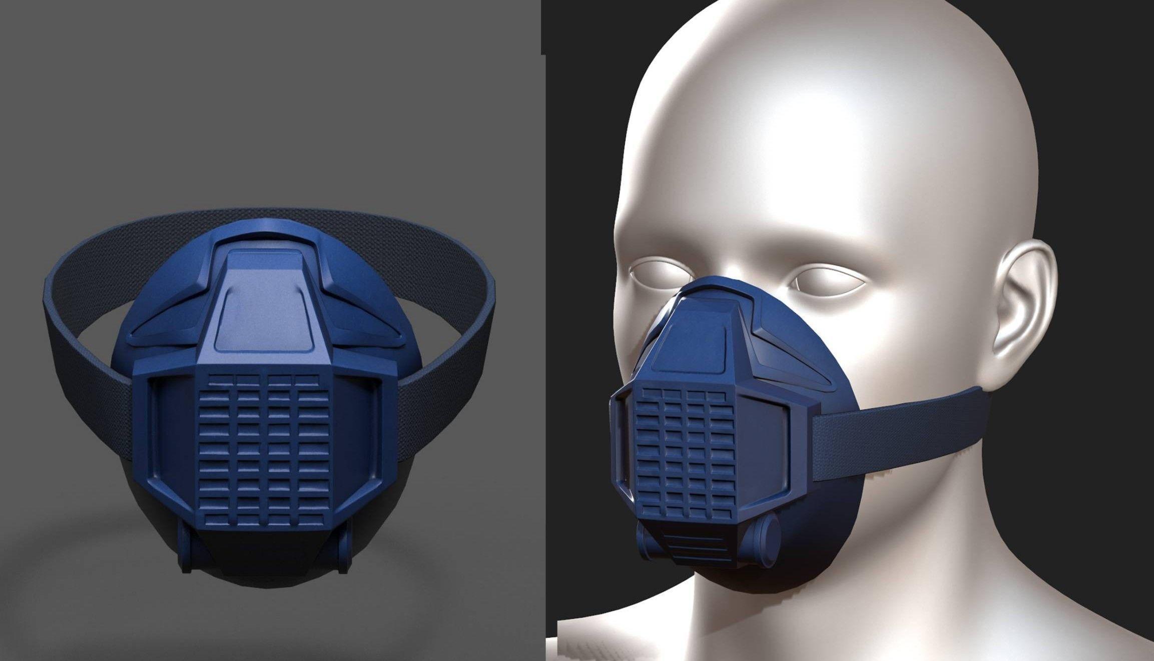 Gas mask respirator blue plastic