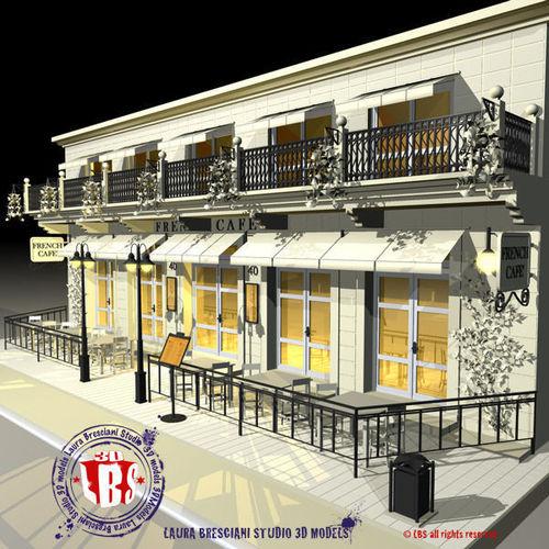 cafe restaurant facade 3d model obj 3ds fbx c4d dxf dae 1