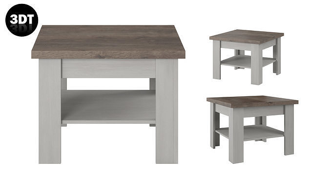 Table 3D model in colonial style white wood