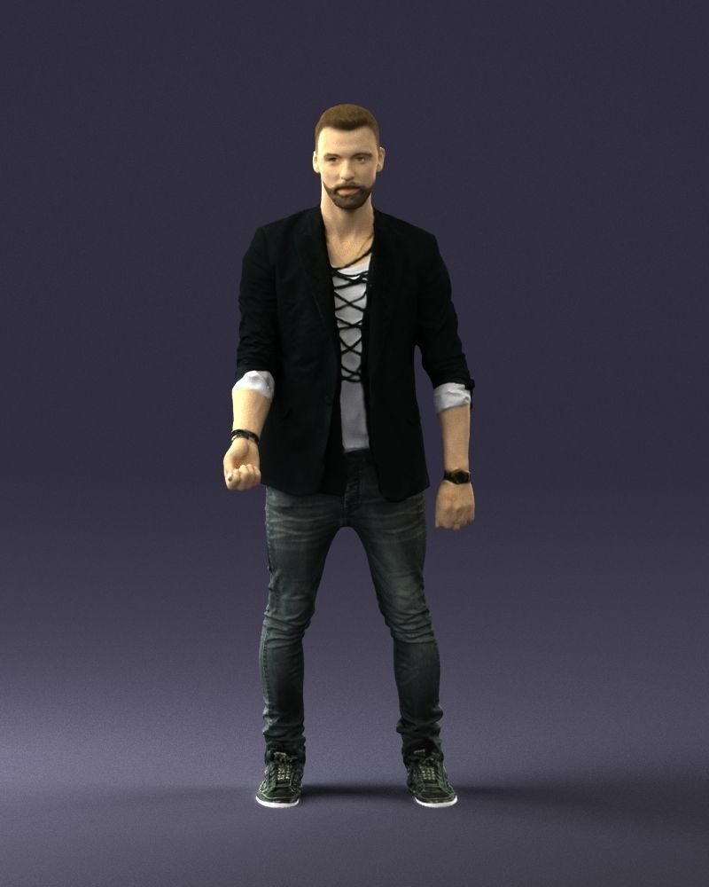 Stylish man in a jacket with a beard 0220