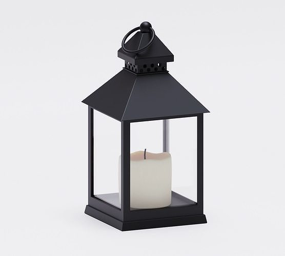 Realistic lantern with a candle