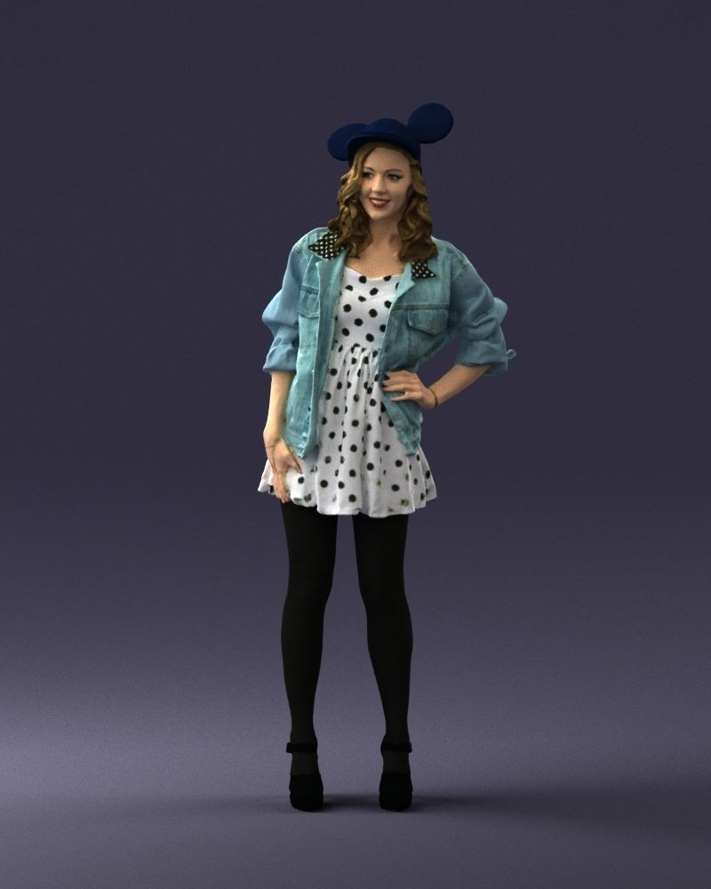 Beautiful girl in a mouse cap 0225