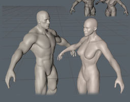 man and woman 3d asset realtime
