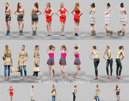3d asset 6 realistic female characters vol 2 realtime