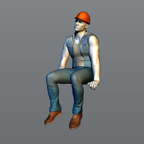 The builder sits on a beam 7