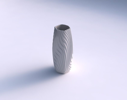 3D print model Vase hexagon with wavy extruded lines 3