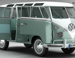 volkswagen type 2 samba 1963 3d model max obj 3ds fbx c4d lwo lw lws