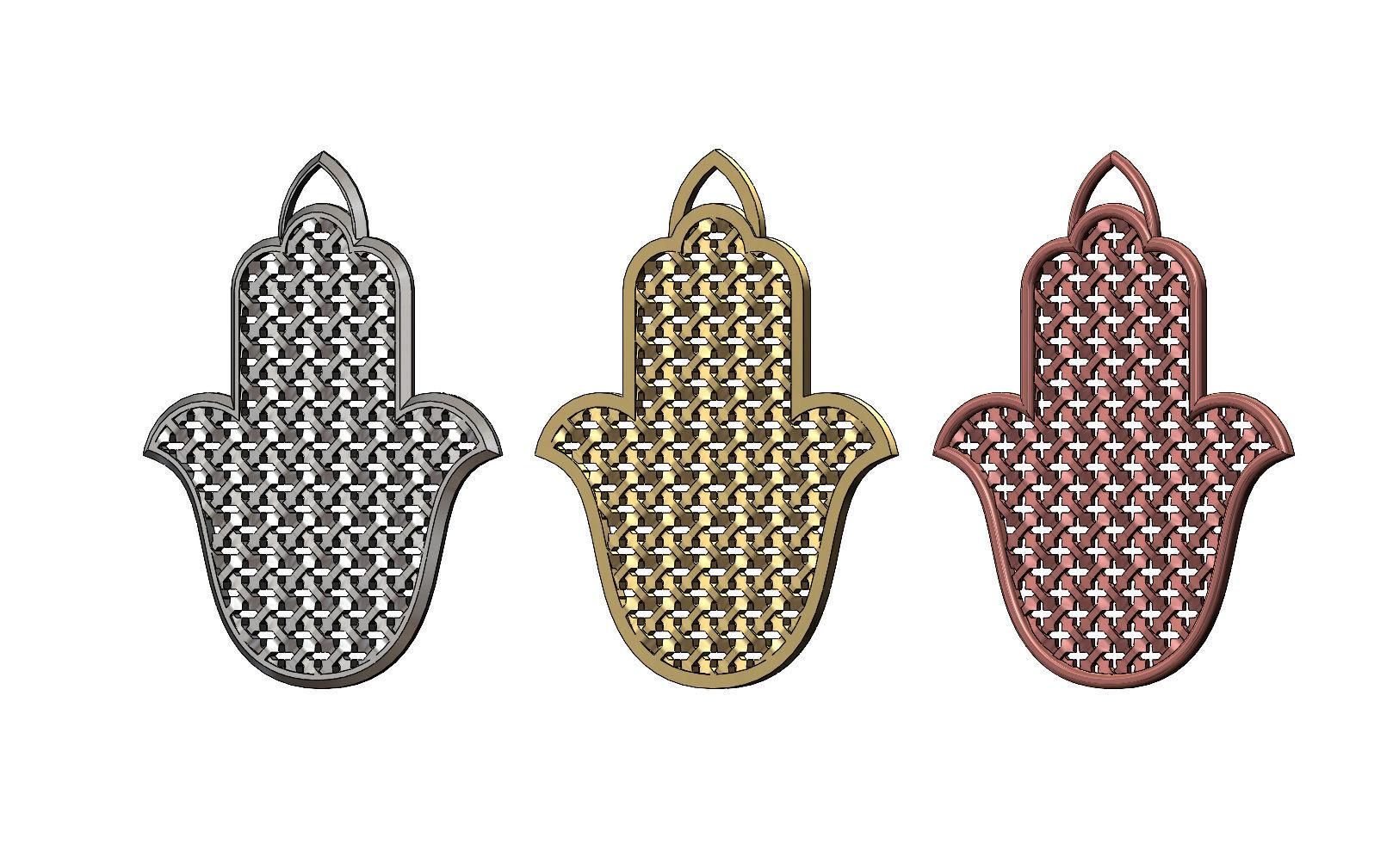 Khamsa Khmissa beldi moroccan pendant with moucharabieh mesh