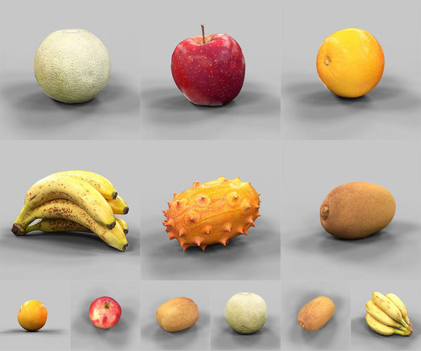 6 fruits collection 3d model obj 1