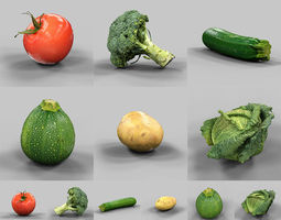 6 vegetables 3d model low-poly