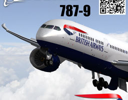 3d asset boeing 787-9 british airways livery animated VR / AR ready