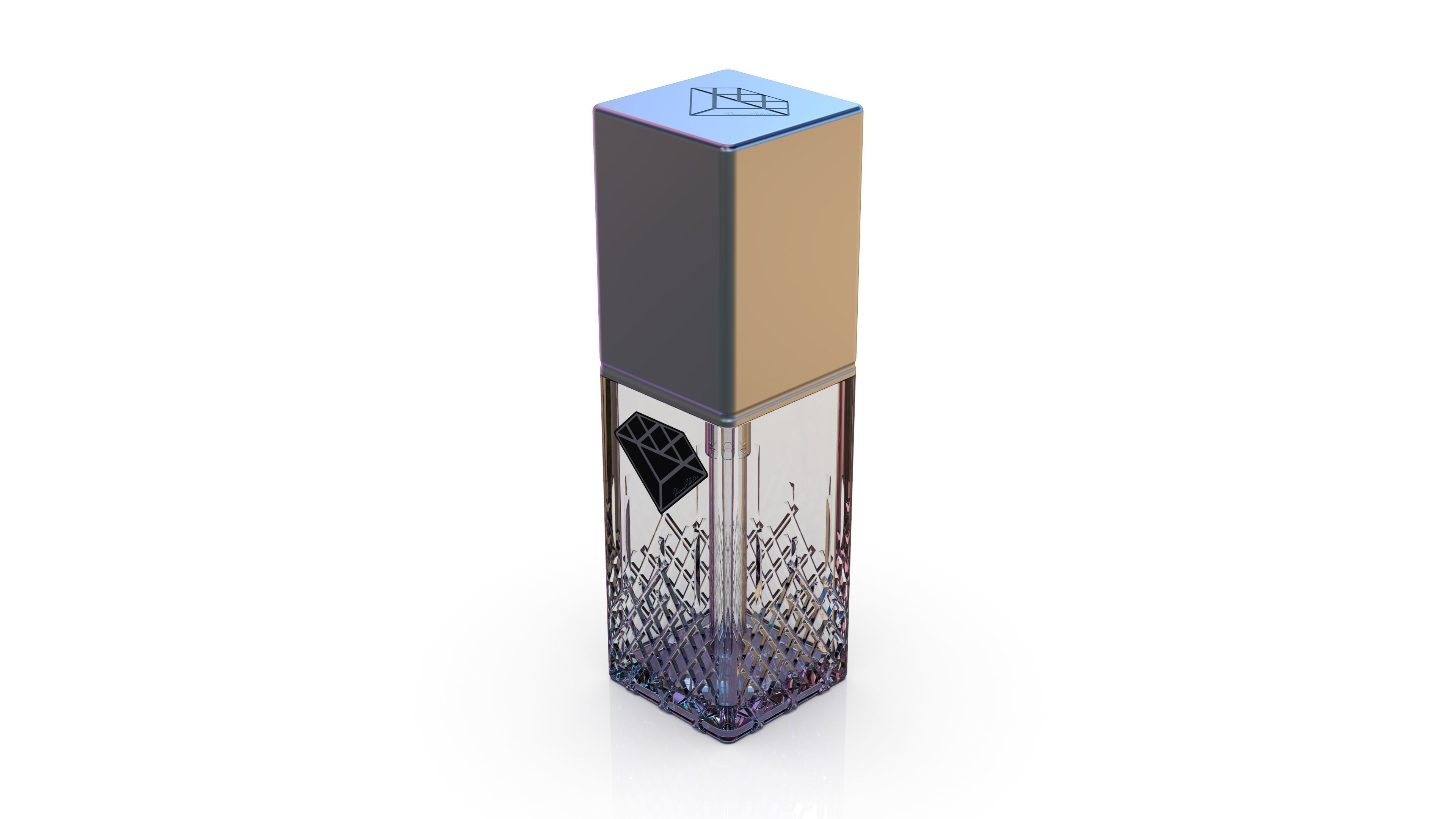 Diamond cosmetics bottle - 30x30 mm - V - 30 mL
