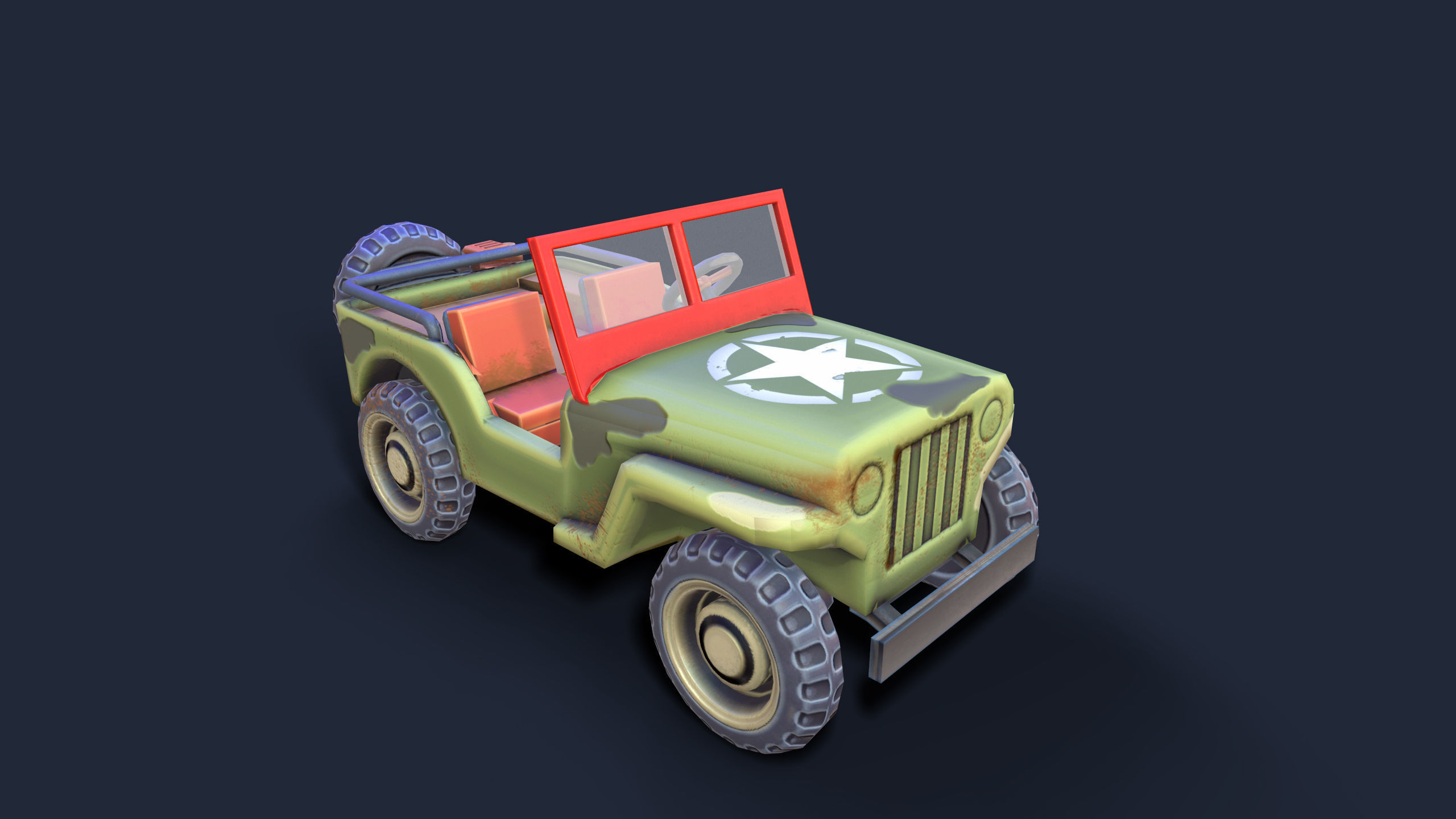 Lowpoly cartoon PBR WW2 army jeep vehicle