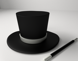 3D Magician Hat And Wand e7aa9db28a43