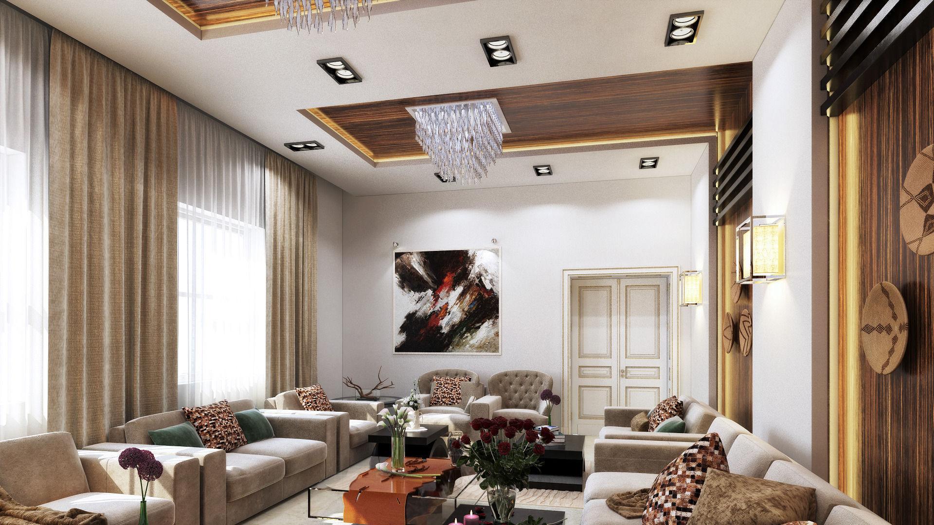 Lovely 3D Modern L shape living room | CGTrader UQ12