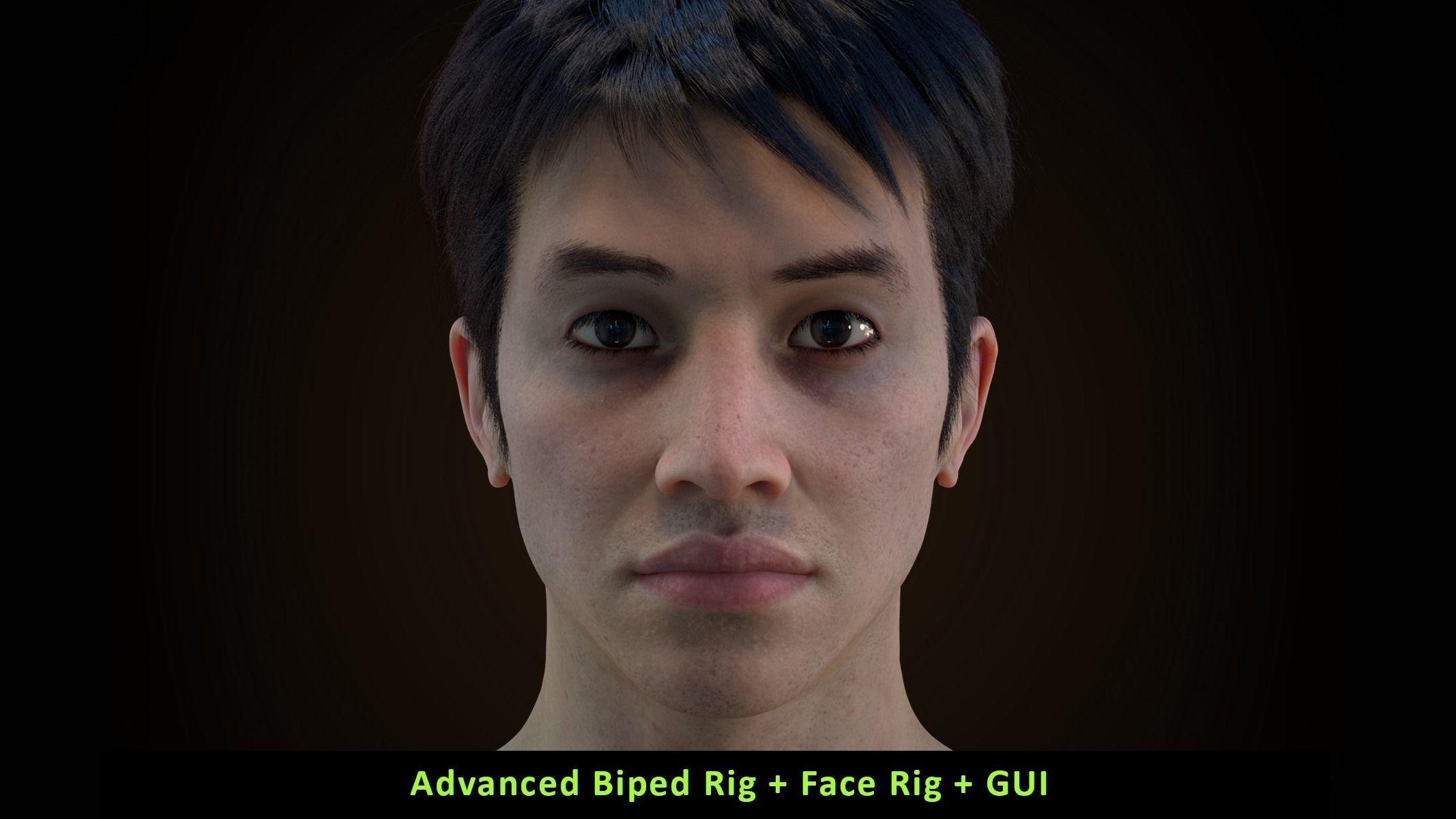 Cinematic Male 003 - Advanced Body Rig - Face Rig - GUI