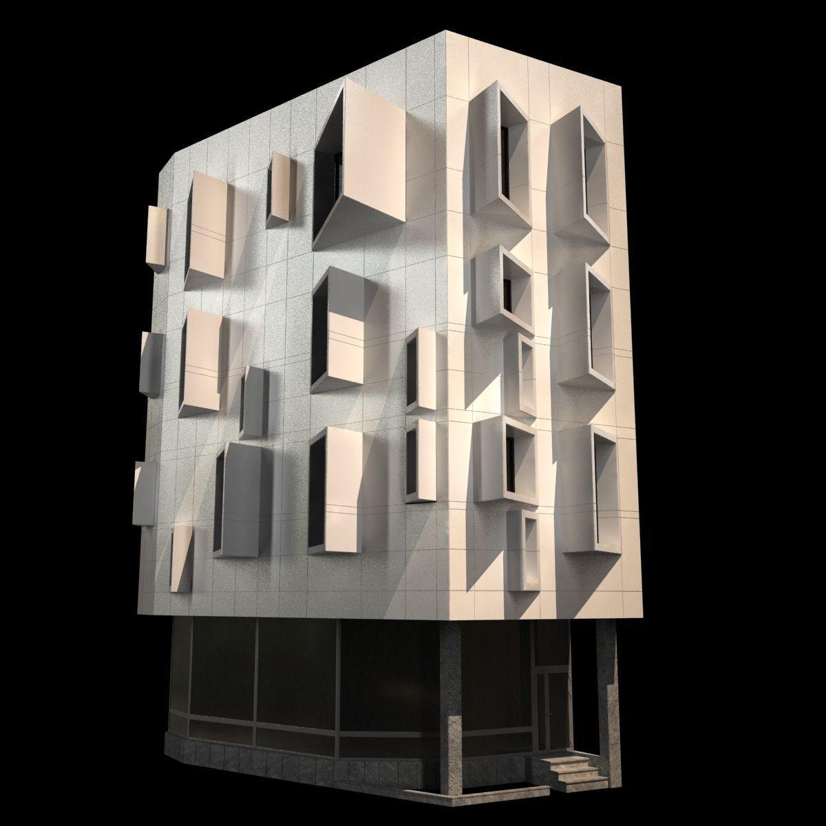 Modern corner building 3d model max obj 3ds fbx mtl for 3d max building
