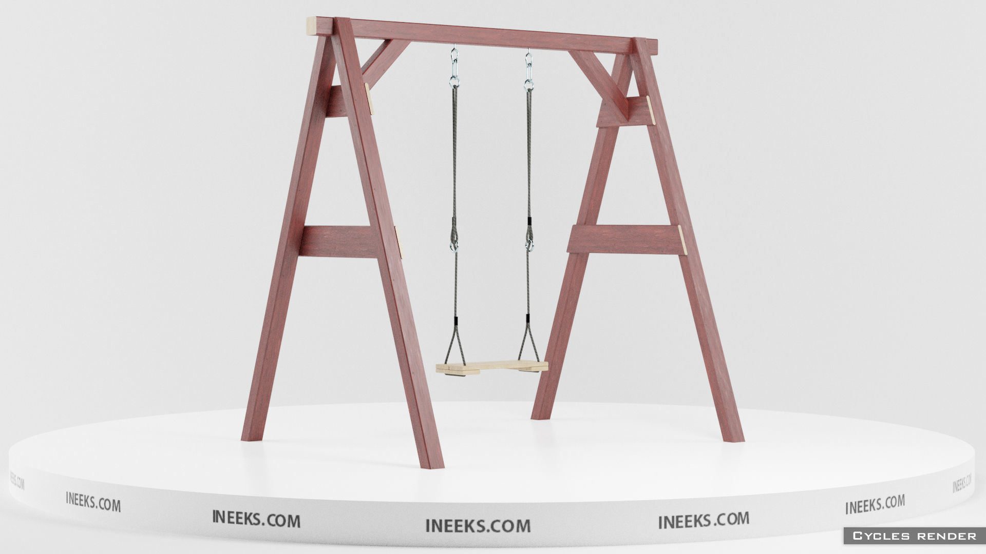 Classic wooden swing set with ropes