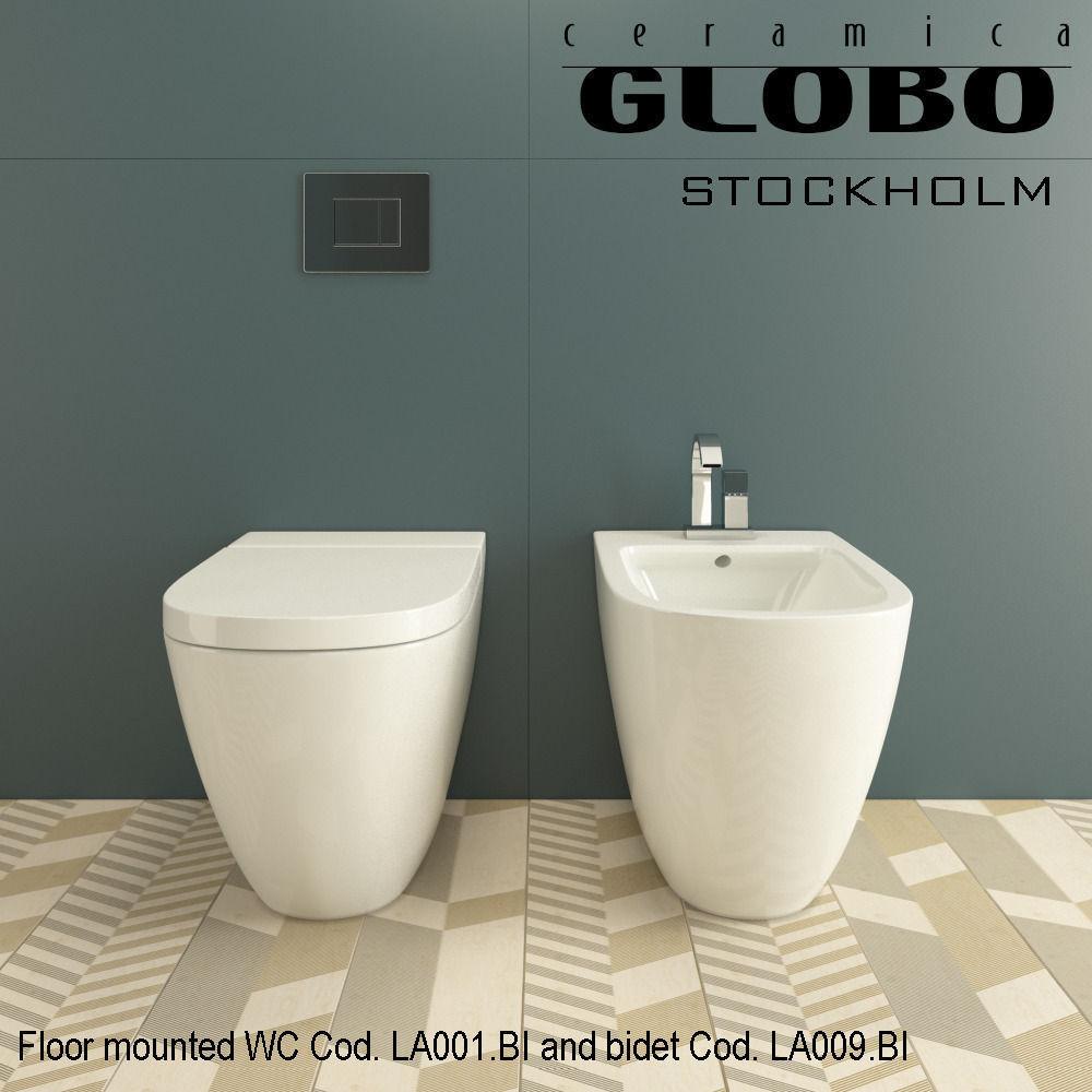 Globo Stockholm WC Cod LA001 BI and bidet Cod LA009 BI 3D model MAX on