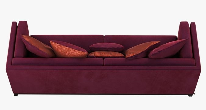 Superbe Dom Edizioni Albert Red Velvet Sofa 3D Model