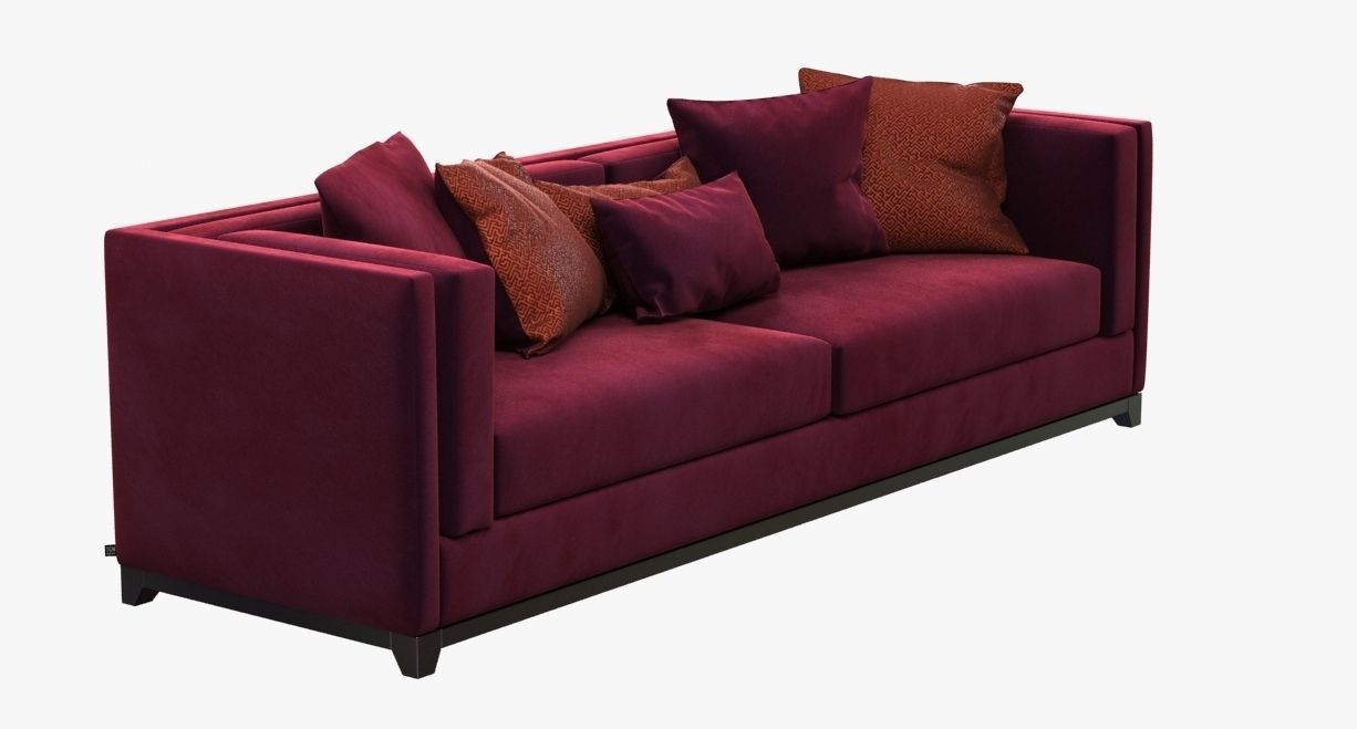 Dom Edizioni Albert Red Velvet Sofa 3d Model Max Obj 3ds Fbx