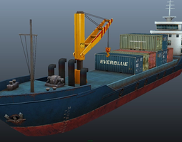 cargo ship - low poly realtime 3d asset