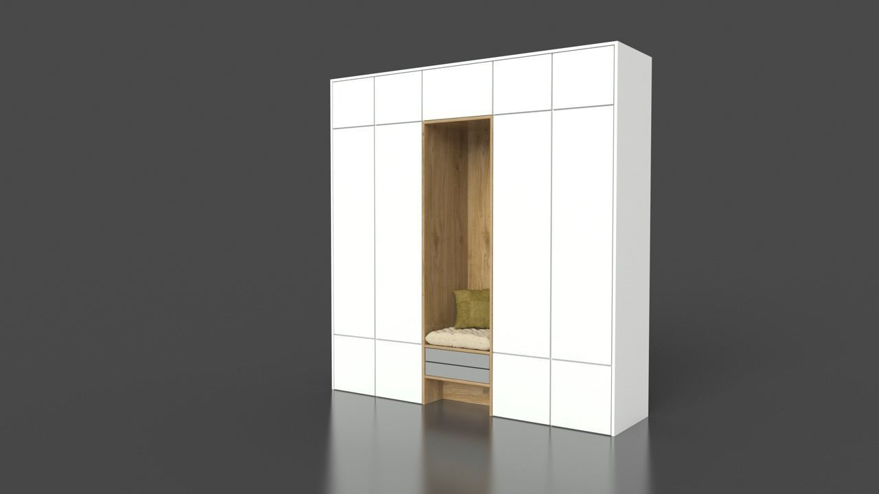 White Wood Wardrobe with sitting