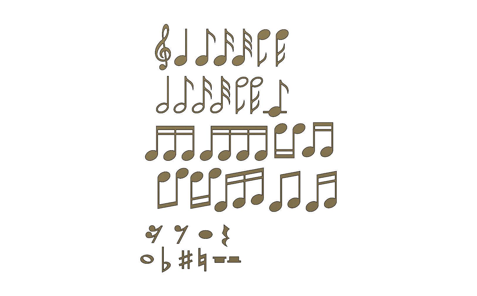 Musical notes symbols characters