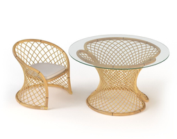 Vittorio Bonacina 905 Rattan Furniture Set 3D model