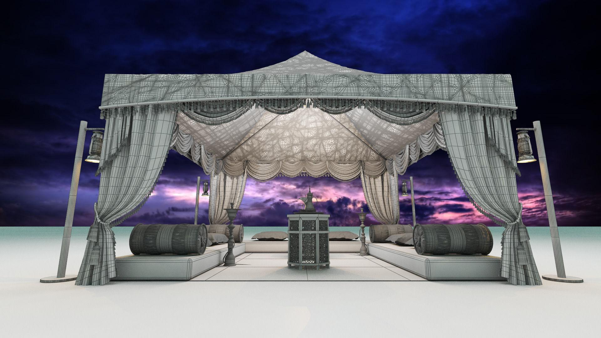Arabic tent 3d model max obj fbx mtl for 3d decoration models